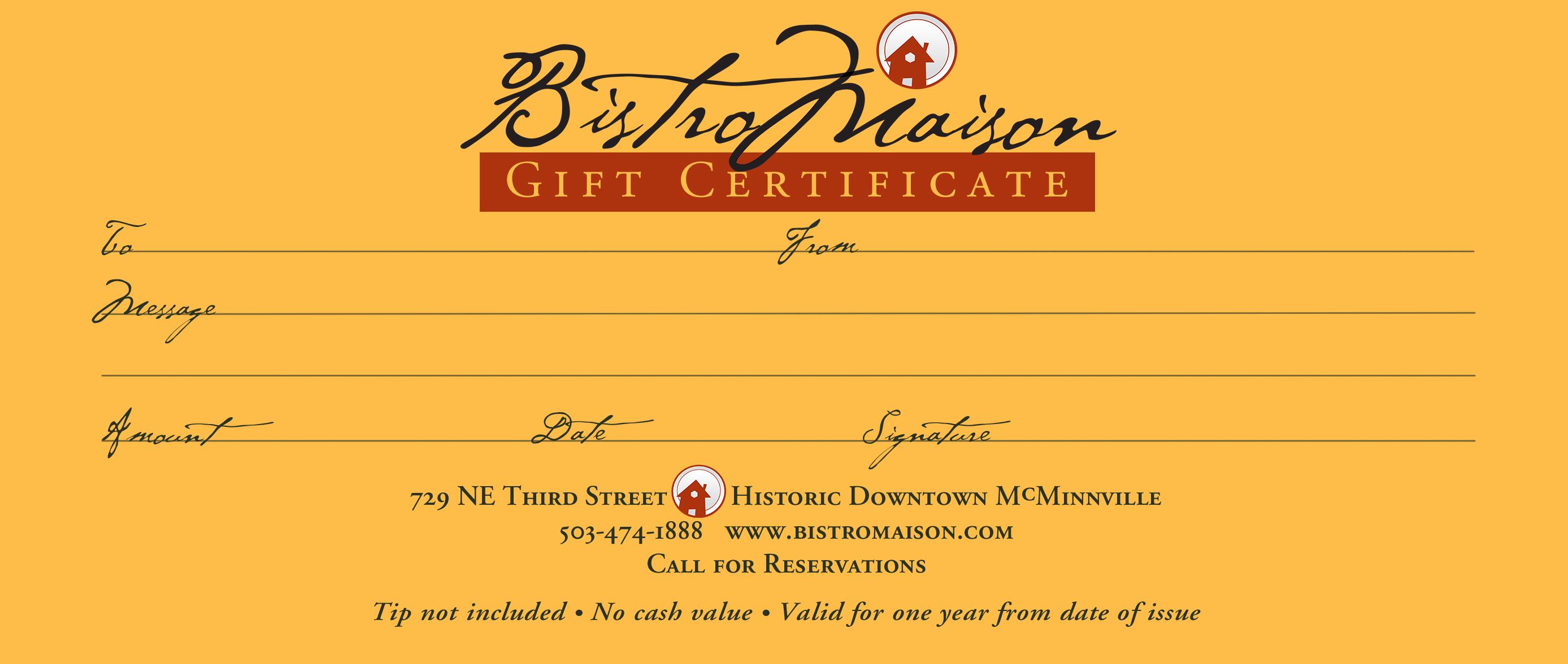 bistro maison gift certificates bistro maison